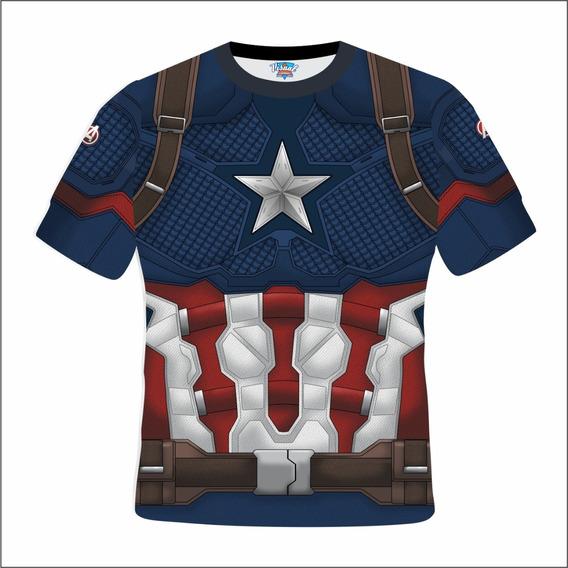 Camiseta Capitão America Uniforme Vingadores Edgame