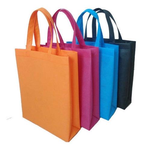 Bolsa Ecológica Tela 35 X 40 X 10 Con Majia Diferentes Color
