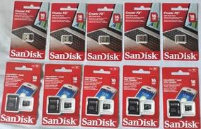 Kit 5 Cartão De Memória Sandisk 16gb 5 Pen Drive Mini 16gb