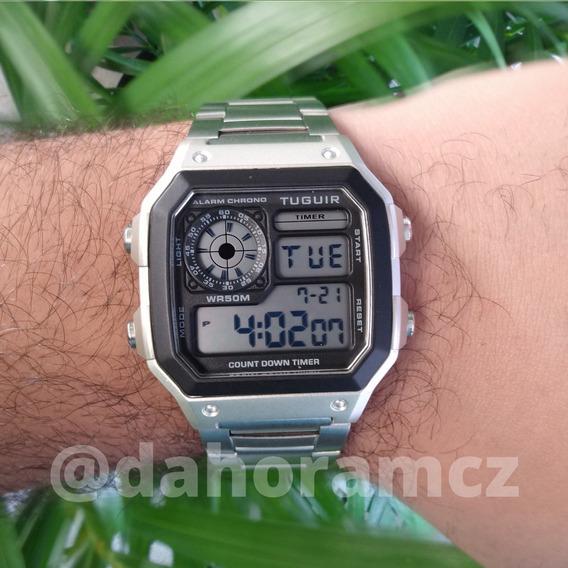 Relógio Tuguir Tg1335 - Modelo Retrô Caixa Quadrada Prateado