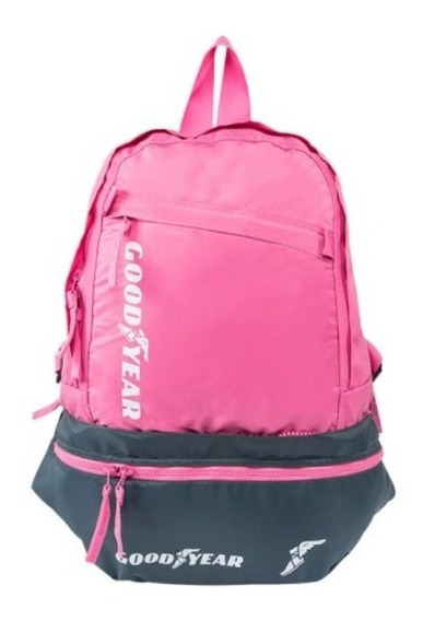 Mochila Backpack Convertible A Cangurera Marca Goodyear Rosa