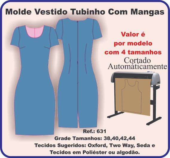Molde Vestido Tubinho Com Mangas 631