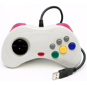 Controle Sega Saturn Usb Pc Raspberry Joystick Branco Retrô