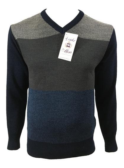 Suéter Marino Con Gris Y Azul Cuello V