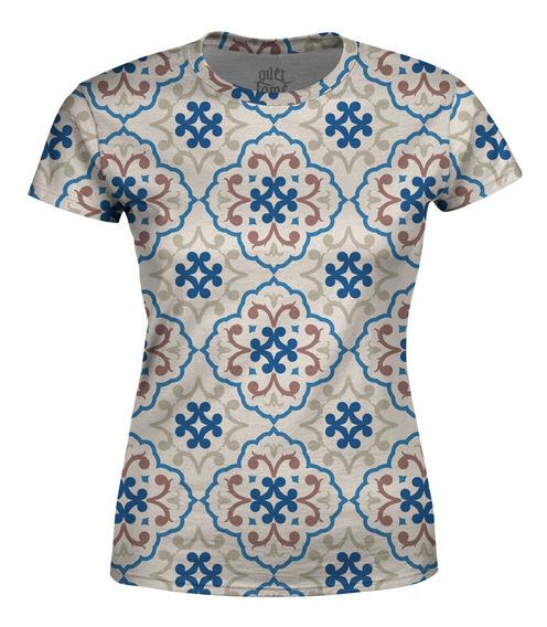 Camiseta Baby Look Feminina Estampa De Azulejos Total Print