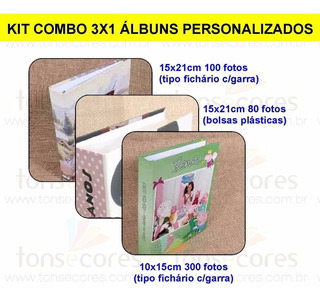 Kit Combo 3x1 Albuns Personalizados Tonsecores