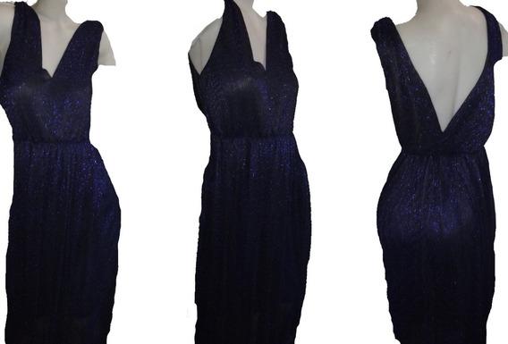 Vestido Largo De Fiesta Talle7 Elastizado Azul Brilloso !!