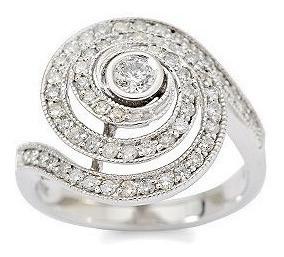 Anel Espiral De Ouro Branco 18k Au750 Mais Diamantes!!