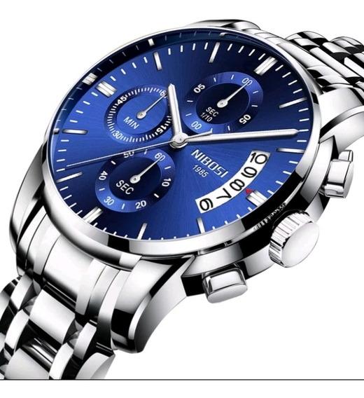 Relógio Nibosi Masculino De Luxo Social 30m Á Prova Água