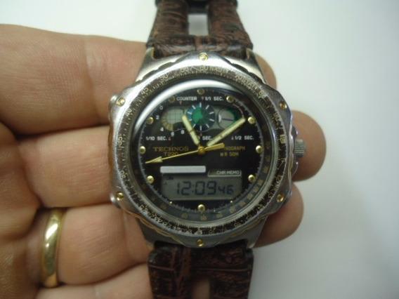 Relógio Technos Antigo E Raro Cronógrafo Funcionando