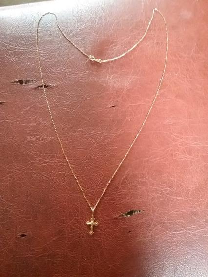 Corrente De Ouro Com Pingente Crucifixo 18 K 0750 60 Cm