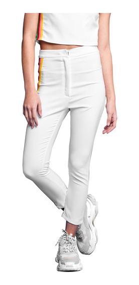 Pantalon Bow Tiro Alto De Creppe Con Spandex Mujer 47street