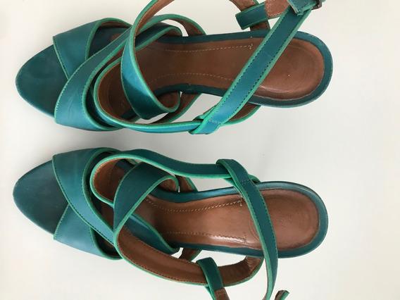 Sandalia Verde/turquesa Zara Talle 37 Cuero