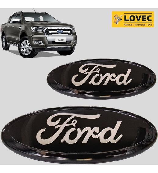 Emblema Ford Grade + Tampa Traseira C/ Câmera Ré Ranger Nova