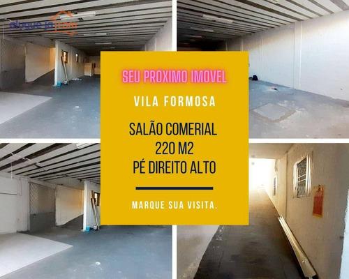 Salão Comercial Vila Formosa Para Alugar, 220 M2 - Sl0110