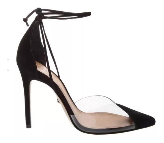 Sapato Scarpin Blogueira Vinil Transparente C/ Amarração