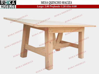 Mesa Quincho Maciza 2.00x1.20 Reforzada Roka