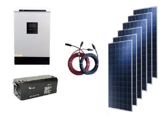 Kit Solar 5000w Hibrido Alta Efic. (12 Paneles 12 Baterias)