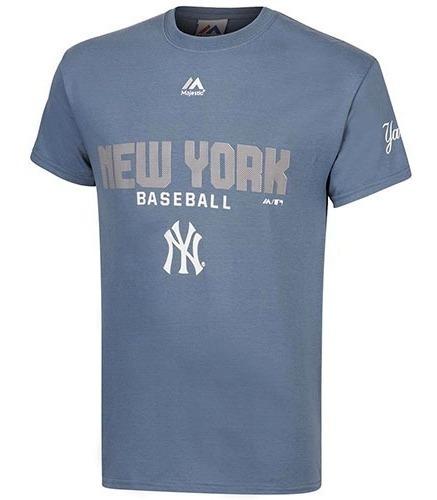 Playera Yankees Majestic Original Azul Plamc-cny + Envio Dgt