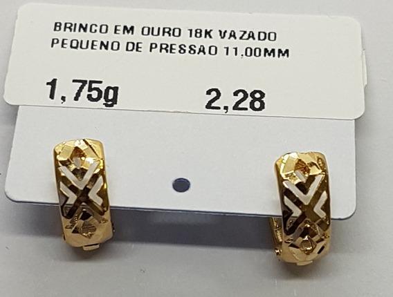 Brinco Em Ouro 18k Vazado Pequeno De Pressao 1,75g