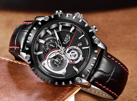 Relógio Masculino Social Analogico Moderno Preto Presente