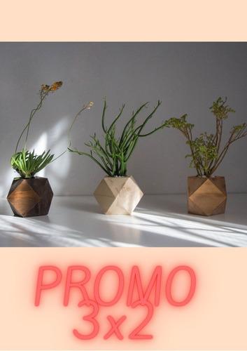 Promo Maceta Tipo Nórdica De Madera Diseño Geo