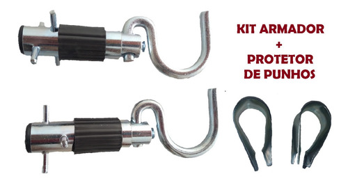 Armador De Rede Embutir + Protetores De Punhos Kit 05 Pares