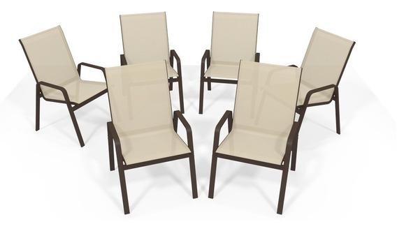 Kit 6 Cadeira Riviera Piscina Alumínio Marrom Tela Bege