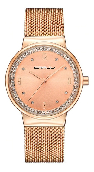 Relógio Feminino Dourado Rose Crrju 2122 Aço Inox Com Estojo