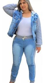Jaqueta Jeans Moletom + Calça Jeans Plus Size Ribana