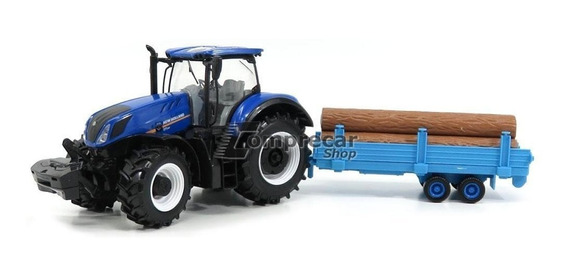 Miniatura Trator New Holland T7.315 + Carreta Bburago 1/32