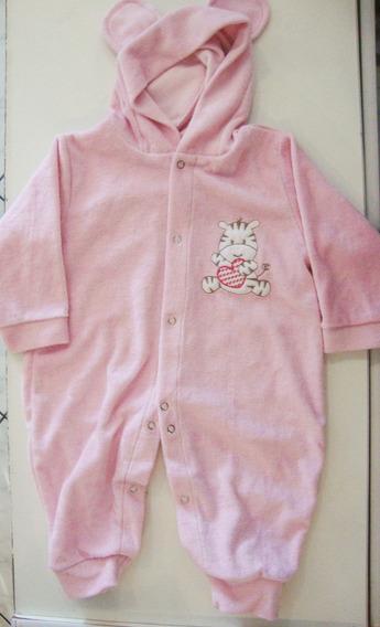 Macacão Tiptop Pijama Bebê Menina Plush C/ Capuz C/ Orelhas