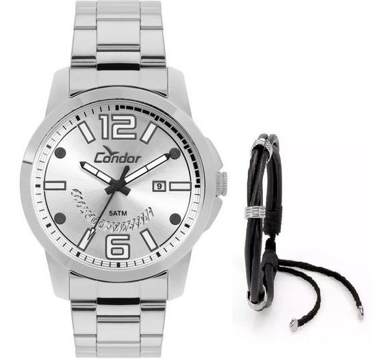 Relógio Condor Masculino Co2115ktk/k3k Prateado + Pulseira
