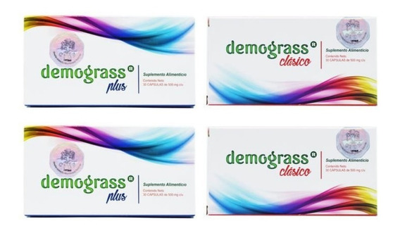 Kit Baja De Peso De Forma Natural: 2 Cajas Demograss Clásico + 2 Cajas Demograss Plus