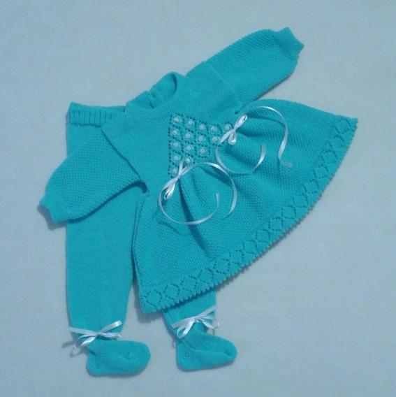 Vestido Calça Bebê Bordado Pérolas Batizado Festas Ref. 131