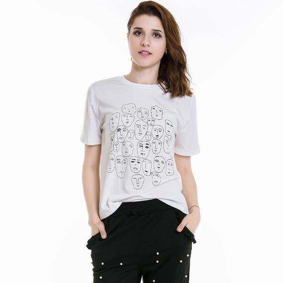 Camisetas Femininas Teen Cabeça Pessoa Camisetas Padrão De