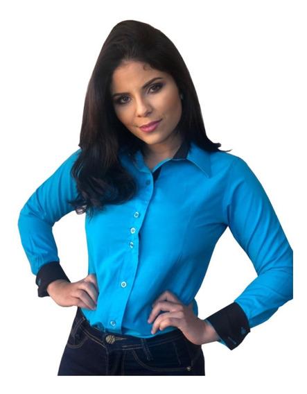 Kit 10 Camisas Sociais Femininas Varias Cores P Ao Gg
