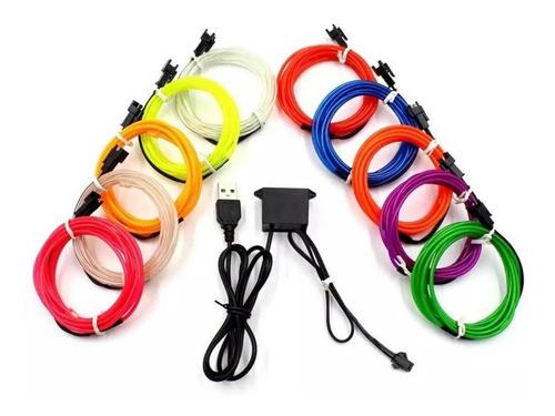 Imagen 1 de 5 de Luz Led Neon Usb Auto Moto Tuning 2m Cable Flexible Clicshop