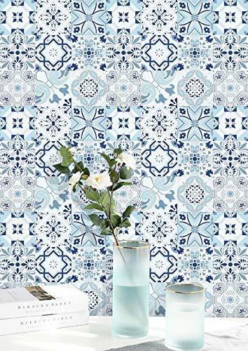 Papel De Contacto Papel Tapiz Blanco Azul Flor Floral Azulej