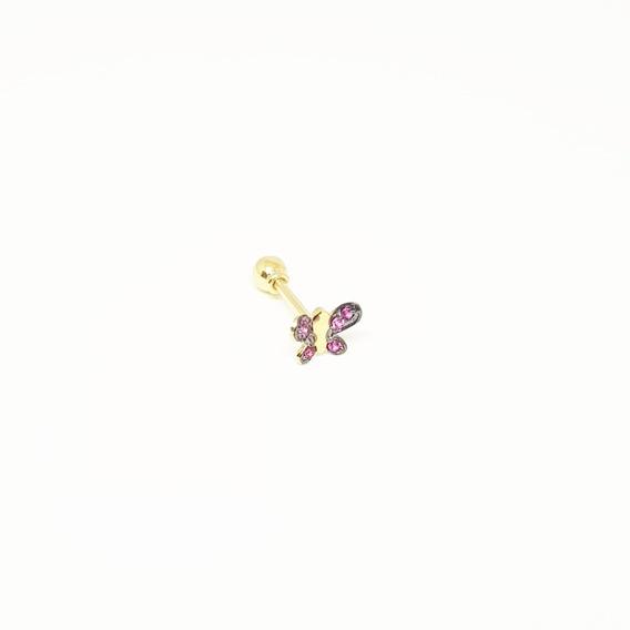 Piercing Tragus Borboleta C/ Zirconia Vermelha Em Ouro 18k