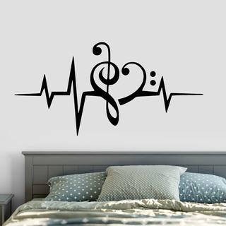Adesivo De Parede - Batimento Cardíaco Clave Sol Fá Música
