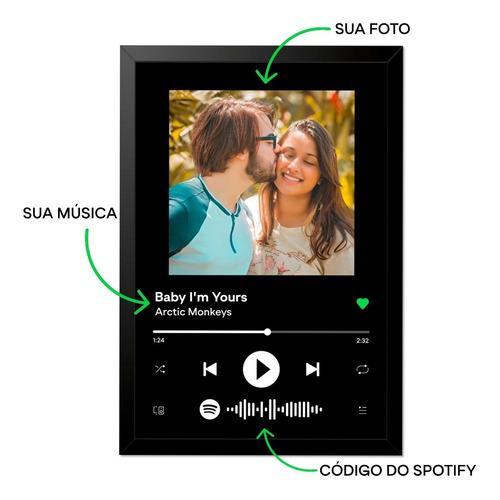 Imagem 1 de 7 de Quadro Interativo Música Spotify Com Moldura E Vidro