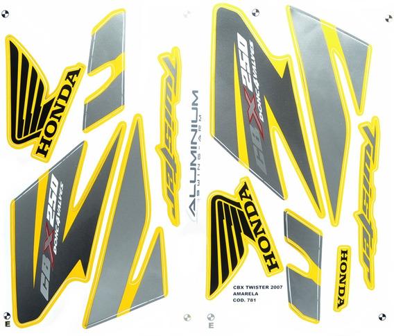 Faixas / Kit Adesivos Honda Cbx250 Twister 2007 Moto Amarela