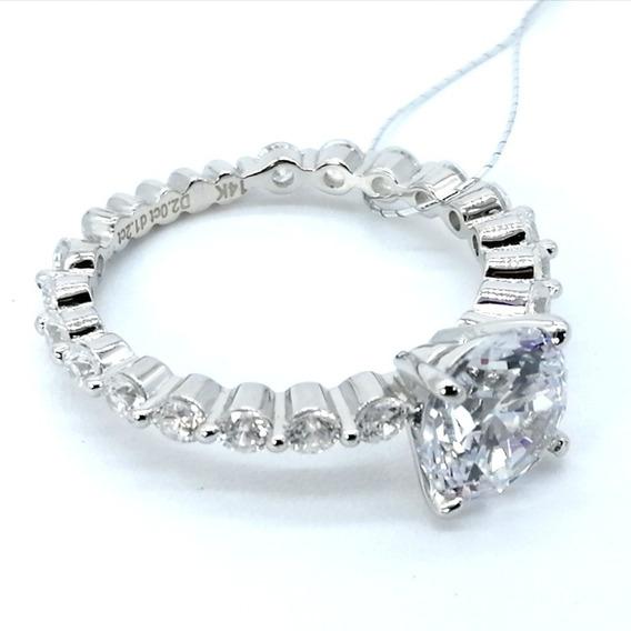 Anillo Aniversario Diamante Cultivado Plata Solida 925/14k