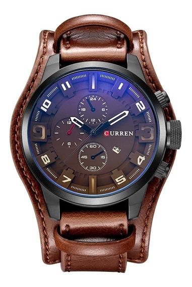 Relógio Curren 8225 Couro Marrom + 1 Pulseira Top De Brinde