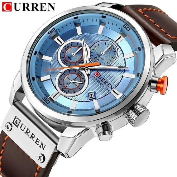 Relógio Curren 8291 Funcional Couro Cronógrafo Luxo Original Azul