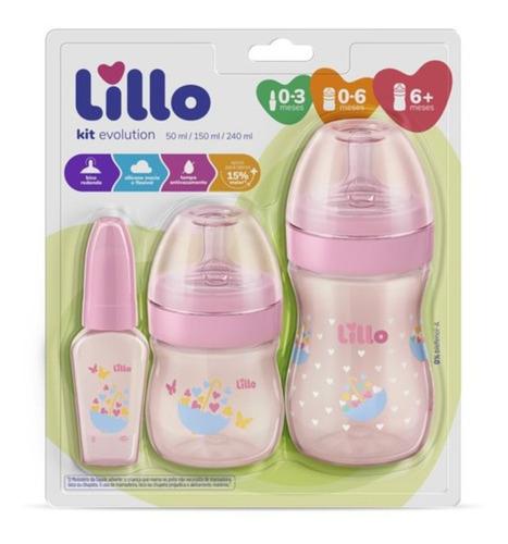 Mamadeira Lillo Kit 3 Pçs 50/150/240ml Rosa - Oferta