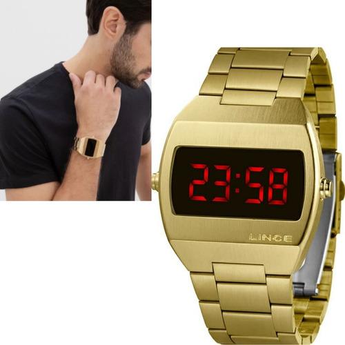 Relógio Masculino Lince Dourado Quadrado Led Mdg4620l Vxkx