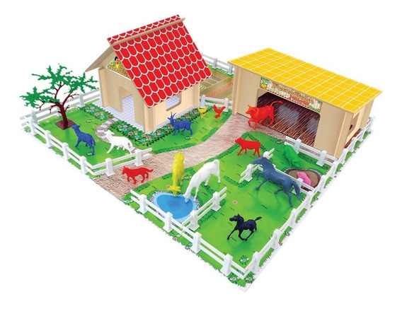 Fazendinha Junges Montar Animais Brinquedo Infantil 52pç Mdf