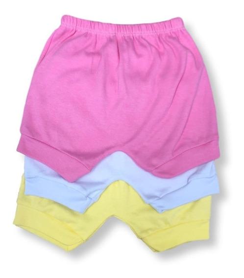 Kit 3pç Shorts Bebê Basico Menina Liso Malha Grossa Atacado